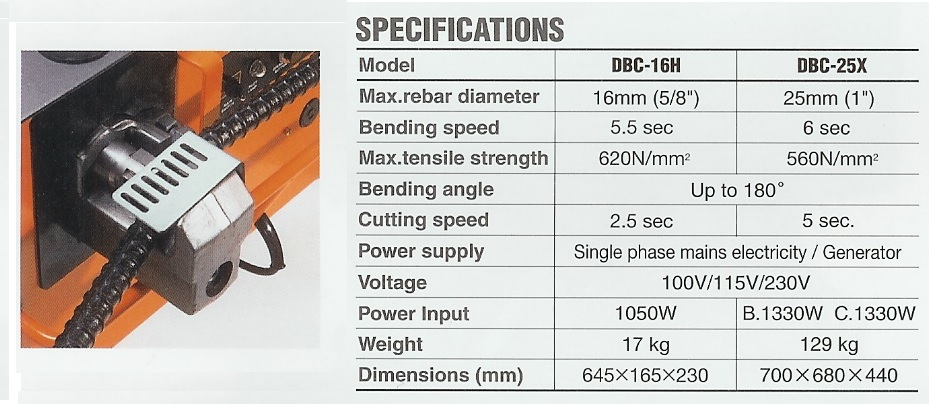 DIAMOND cutter / bender specifications