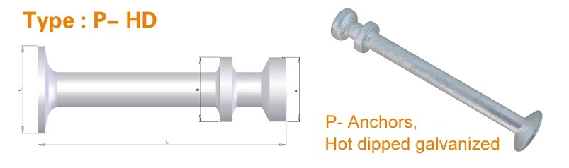 Type P-HD Spherical Head Precast Lifting Anchors - Hot Dipped Galvanised